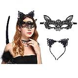 Coolba Katzenohren Haarreif & Lace Masquerade Maske& Katzenschwanz Schwarz Set Haarreif Ohren Katzenohren Fasching für Katzen Kostüm Damen Halloween Karneval Party Frauen