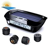 Tymate TPMS Solar Power Charge - 4 External Sensor (0-6.0 BAR) Wireless Tire Pressure Monitoring System, 6 Smart Alarm Modes Real-time Monitor Tire Pressure & Temperature (℃/℉) with HD LCD Display