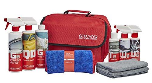 Gtechniq AC L Essential Maintenance beinhaltet GWash, Quick Detailer, Reifenauflage, Zero Scratch Mikrofaser-Trockentuch, ZeroR Buff Tuch, Bug, Fallout Remover, Perfect Glass Kit Bag