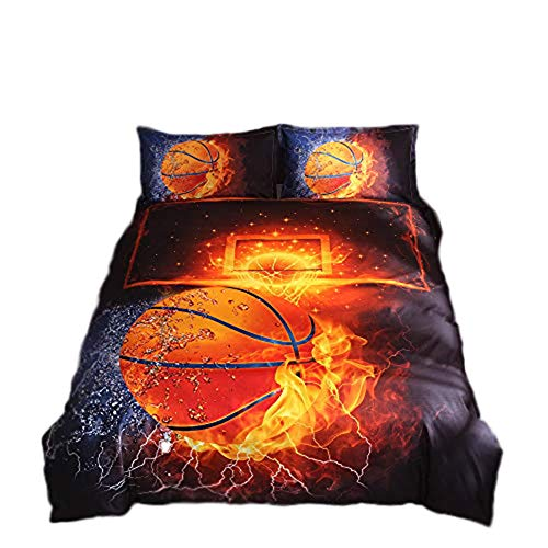 Onlyway Juego de funda de edredón y funda de almohada de baloncesto