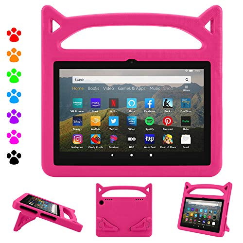 Fire HD 8 Plus Tablet Case,Fire HD 8 Case (10th Generation, 2020 Release),Dinines Lightweight Kids-Proof Case with Handle Stand for Amazon Kindle Fire HD 8 Tablet/Fire HD 8 Plus,Pink. Buy it now for 11.55