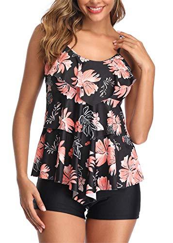 Aidotop Damen Tankini Zweiteiler Badeanzug Elegant Volant Monokini mit Verstellbare Träger Bademode für Urlaub (XXL, Black pink Flower)
