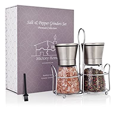 Luxury Salt and Pepper Grinder Set with BONUS Stand | Clear Glass & Stainless Steel | Ceramic Grinder w/ Adjustable Coarseness | Kitchen Accessory for Fresh Ground Spices