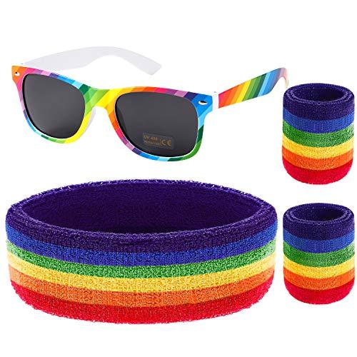 VAMEI zweetband-set regenboog-armband, uniseks, sport, zweetband, hoofd van badstof, armband, polsbands, sweatbands, regenboog, hardlopen voor dames en heren