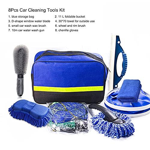 Moniel Kit de herramientas de limpieza de automóviles de 8 piezaskit de herramientas de lavado de automóviles para detallar interiores Paño de limpieza de fibra premium - Cepillo de llanta y rueda