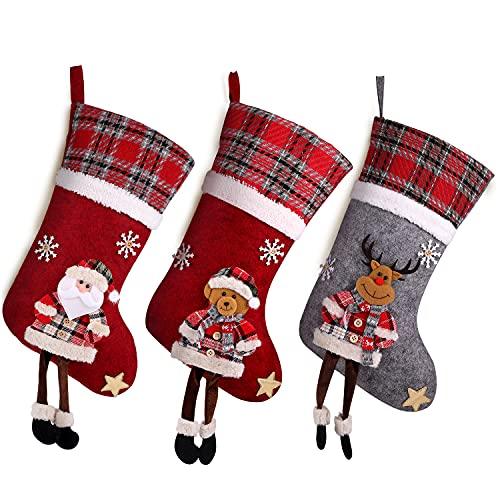 CACOE Medias de Navidad, Juego de 3 Calcetines de Navidad Regalode Decoración Oso,alce,Papá Noel Adorno de Navidad Bolsa de dulces Calcetín de decoración navideña Para llenar y colgar