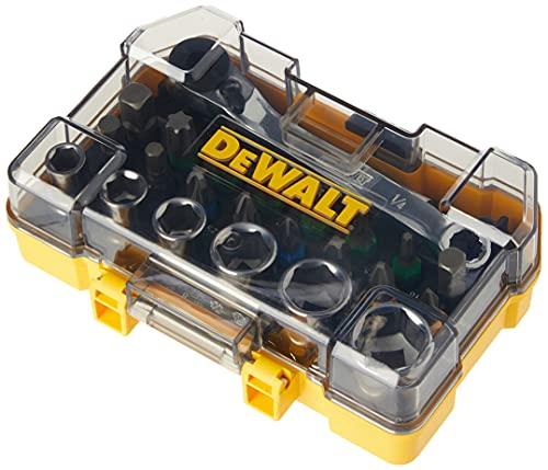 Dewalt DT71516-QZ - Juego de 24 piezas con llaves de vaso y puntas de atornillar, Llaves de vaso hexagonales, Llave de carraca, Portapuntas, Puntas de 25mm, Giallo/Nero