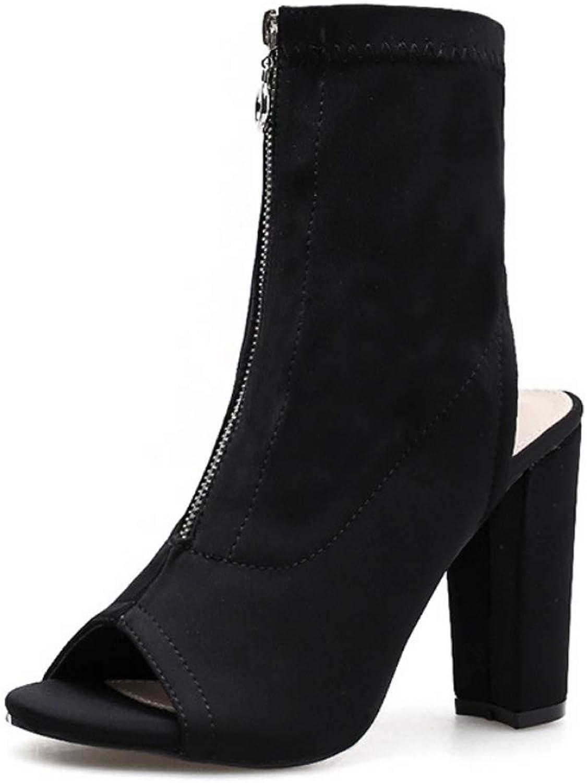 Women's shoes High Heel Sandals Peep Toe Zipper Spring Rome Style Open Toe shoes Black
