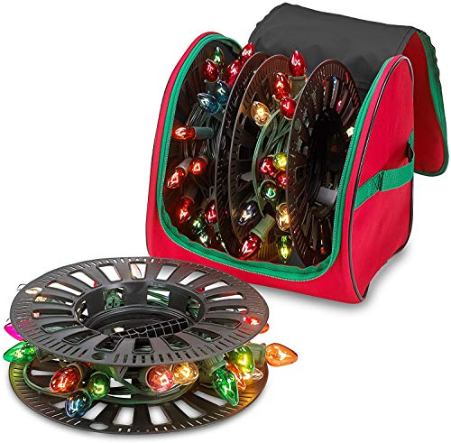 Premium Christmas Light Storage Bag – Heavy Duty Tear Proof 600D/Inside PVC Material with Reinforced Handles - With 3 Reels Stores up to 375 Ft of Mini Christmas Tree Lights Bulbs & Extension Cords