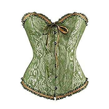 Women s Lace Up Corset Top Overbust Waist Satin Floral Boned Body Shaper Bustier for Bride Bodyshaper Plus Size Green L