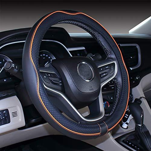 Istn Mikrofaser Leder Auto Lenkradbezug 38cm für die meisten Autos (schwarz orange)