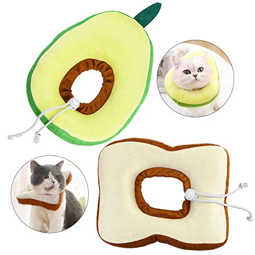 Amersumer 2 Pcs Soft Cute Cat Cotton Cones, Avocado Neck Cone After Surgery, Toast Bread Adjustable Cat Collar, Protective Cat Recovery Elizabethan Collar, Fit for Cats, Kittens and Small Dogs