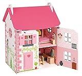 erdbeerloft Janod Holzspielzeug - Puppenhaus Mademoiselle Wohnung komplett 41 x 30 x 54 cm,  Rosa
