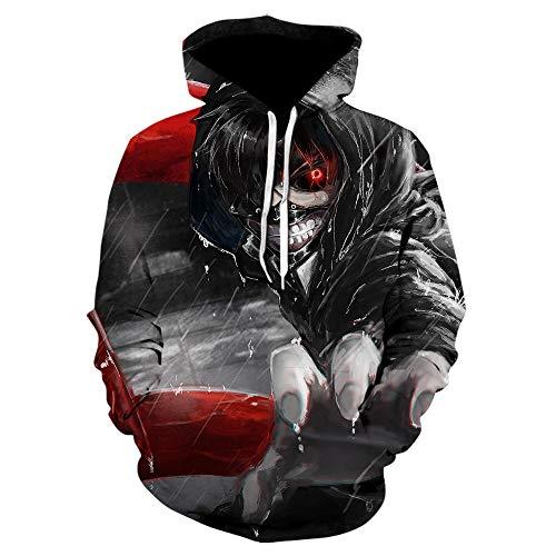 LONGFOFHUI 3D Herren Hoodies Tokyo Ghoul Sweatshirt Harajuku Cap Sweatshirts Anime Hoodie Pullover Tops Winterjacke-We-855__Size_XXL