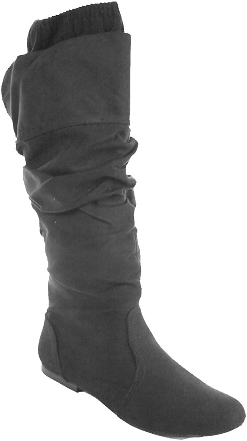 OTFL Qupid Womens Faux Suede Knee High Flat Slouchy Sweater Boots Charcoal 7