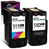ColoWorld Remanufacturados 510 XL 511 XL Cartuchos de Tinta para Canon PG-510XL CL-511XL para Canon Pixma MP495 MP250 MP270 MP280 MP490 MP499 MP230 iP2700 MX320 MX350 MP240 Impresora(1Negro+1Tricolor)