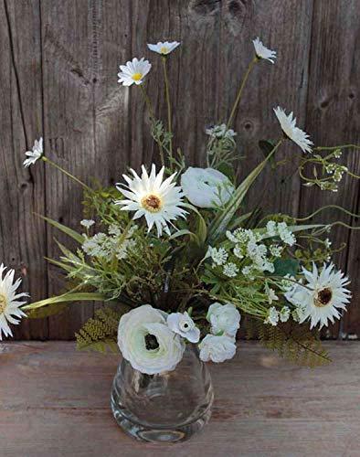 artplants.de Gerbera Kunststrauß Makana, Ranunkel, Rose, Creme-weiß, 45cm - Blumenstrauß künstlich/Kunstgerbera