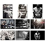 9X Poster Fabric Bodybuilding Men Girl Fitness Workout Quotes Motivational Inspiration Muscle Gym Font 20x13 (50x33cm) (1-9)
