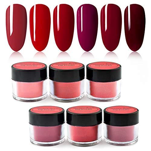 Honey Joy 6 BOX/SET Wine Red Dip Powder Dark Barn Red Fine Dipping Powder Colors No Need Lamp Cure,Like Gel Polish Effect,Even & Smooth Finishing (DP-A-6pcs-10g/box)