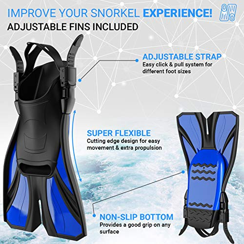 cozia design Snorkel Set Adult - Full Face Snorkel Mask and Adjustable Swim Fins for Lap Swimming, 180° Panoramic View Scuba Mask, Anti Fog and Anti Leak Snorkeling Gear, Extra Propulsion Flippers