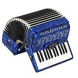 M-zutx Acordeón de piano azul Teclado de acordeón bajo de 26 teclas 48 Instrumento musical 3 sintonizador Acordeón de niño adulto Conjunto de instrumentos Acordeón solo