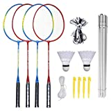 Sports Volleyball and Badminton Set - Badminton Rackets, Birdies, Net, and Adjustable Polls