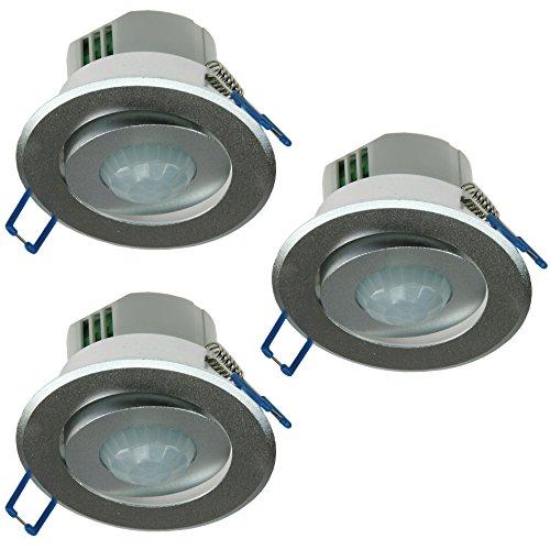 3X Decken Einbau Bewegungsmelder 360 Alu LED geeignet 6m schwenkbar Silber