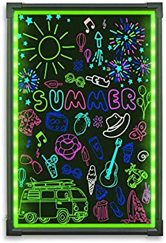 Hosim LED Message Writing Board 24  x 16  Illuminated Erasable Neon Effect Restaurant Menu Sign with 8 Colors Markers 7 Colors Flashing Mode DIY Message Chalkboard for Kitchen Wedding Promotions