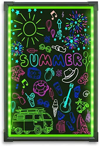 Hosim LED Schreibtafel, 40cm x 60cm Leuchtende Werbetafel mit Fernbedienung und 8 Neon-Stifte, DIY-Design Leuchttafel für Café, Bar, Restaurant, Hochzeit