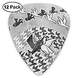 Pack de 12 púas de guitarra Plectrums, Fish Birds Flying Celluloid Guitar Pick Set para guitarra eléctrica acústica Bass Mandolin Ukulele