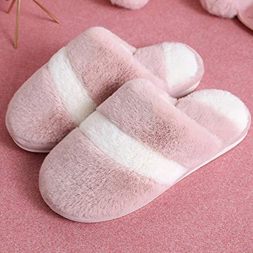 Zapatillas Casa Hombre Mujer Invierno Zapatillas De Mujer Zapatillas De Interior Unisex Cálidas Zapatillas De Colores Mezclados para Mujer Zapatillas De Casa Zapatos De Mujer Suaves-Pink_7