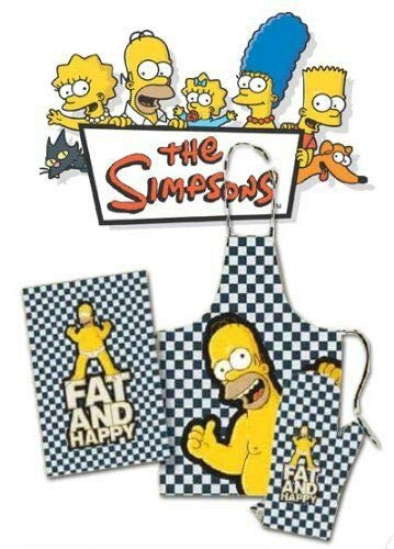 familie24 Homer Simpsons Grillset 3tlg. Grillschürze + Handschuh + Handtuch Schürze Bart
