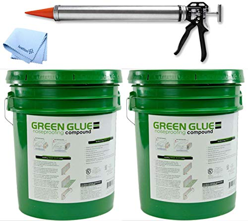 Green Glue Noiseproofing Compound Pail (2 Pack) With Dispensing Applicator Tool Ideal For Home Theaters, Recording Studios