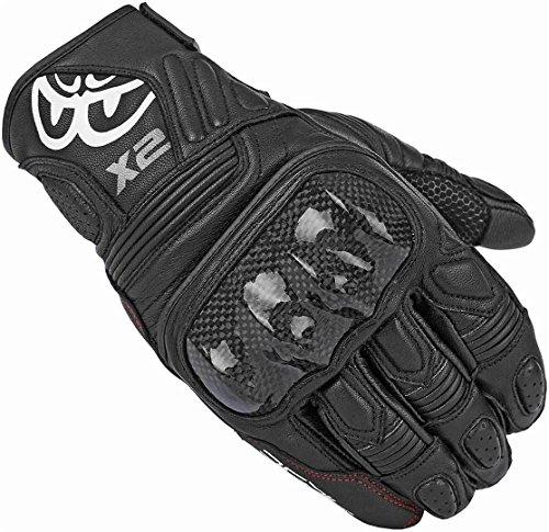 Berik NexG - Guantes cortos de piel para motocicleta, color negro