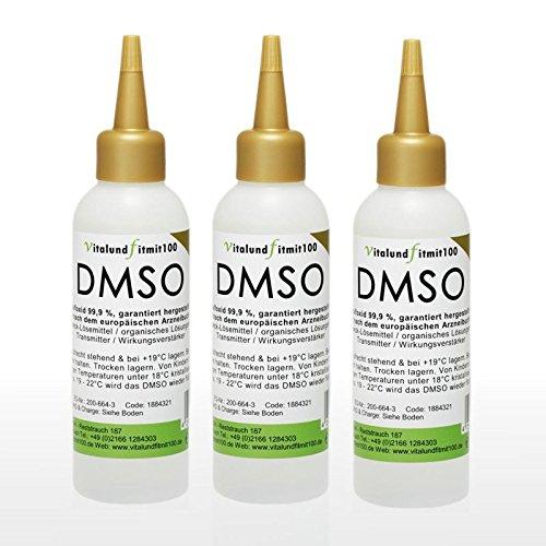 DMSO Dimethylsulfoxid - 3 x 100 ml - 99,99% Ph. Eur. - pharmazeutische Reinheit/Qualität - in spezieller geprüfter HDPE Tropferflasche - Qualität: MADE IN GERMANY