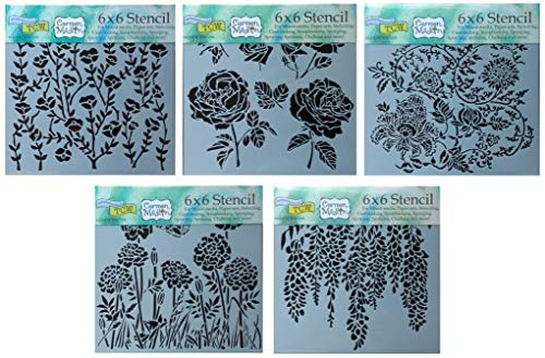 5 Crafters Workshop Mixed Media Stencils | Wild Bloom Assorted Flowers, Roses, Dandelion, Wisteria, Poppy Floral Theme |for Journaling, Scrapbooking, Arts, Card Making | 6 Inch x 6 Inch Templates Set