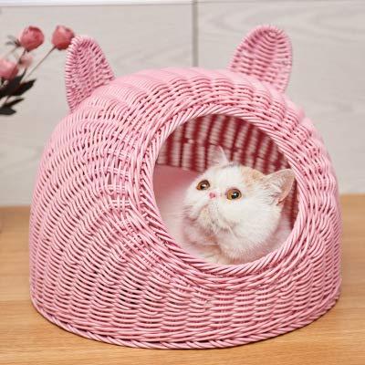 Arena para gatos, arena para mascotas,Nido de mascotas,Suministros para mascotas de ratán arena para gatos extraíble y lavable pequeña arena para mascotas casa para gatos pequeña perrera cama, rop