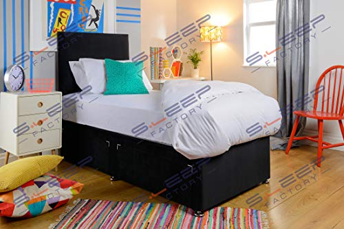 Sleep Factory's Plush Single Divan Bed For Adults or Kids with Drawer Option (Black, 3FT Single(No Drawers))
