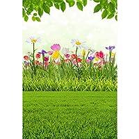 HiYash イースターのテーマ6.5x8ftビニール写真の背景春屋外咲く花緑の枝草原風光明媚な背景イースターエッグハント日バナーグリーティングカード子供赤ちゃんのシュート