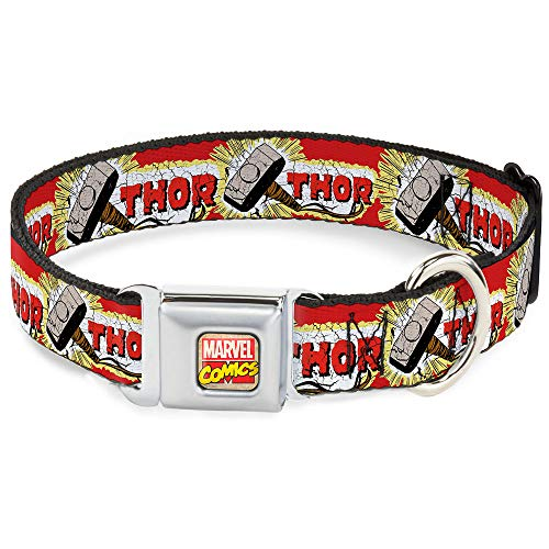 Buckle-Down Dog Collar Seatbelt Buckle Thor Hammer Red Yellow White 15 to 26 Inches 1.0 Inch Wide (DC-WTH005-L)