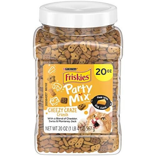 Purina Friskies Made in USA Cat Treats; Party Mix Cheezy Craze Crunch - 20 oz. Canister, Cheese Blend