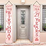 Happy 21st Birthday Party Banner Decorations 21 Years Old Birthday Party Supplies Fabric Welcome Porch Sign for Indoor Outdoor (Rose Gold)