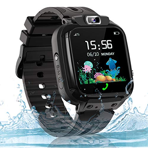 Kids Smart Watch Phone, LBS AGPS Tracker IP67 Waterproof Smartwatch for Boys Girls SOS Call Touch Screen Game Voice Chat Camera Digital Wrist Watch Birthday Gift(Black)