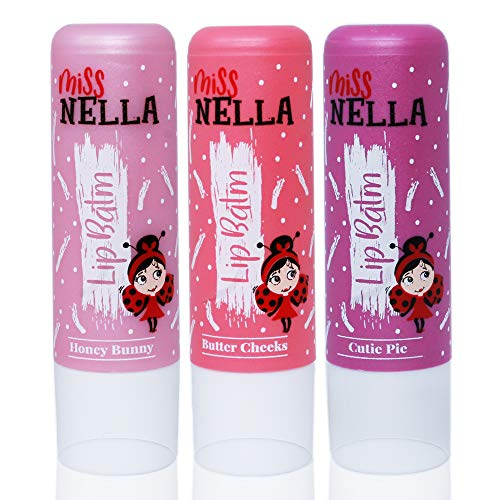 Miss Nella set of 3 Hypoallergenic children Lip Balms- HONEY BUNNY, SWEET CHEEKS & CUTIE PIE, Non Toxic Make Up for kids, perfect for those with sensitive skin.
