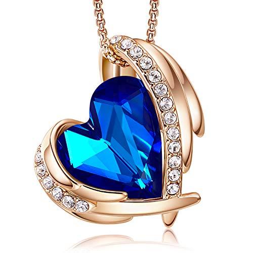 CDE Collar con Colgante de corazón de Amor para Mujer, Collares de Oro/Blanco de 18 Quilates, joyería, Regalos de cumpleaños para Esposa, Madre, Hija (Oro Rosa-Azul Oscuro)