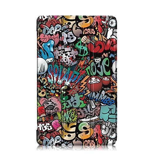 Xuanbeier Custodia per Samsung Galaxy Tab A 10'1 2016 SM-T580/T585 (A6) Ultra-sottile Cover con Funzione Supporto e Auto Sonno/Sveglia,Graffiti