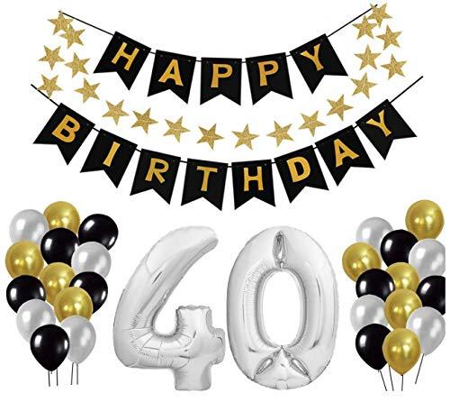 Geburtstag Dekoration Set, Deko Geburtstag, Geburtstagsdeko, Happy Birthday Dekoration. Zahlen Luftballons Silber XXL + 24 Große Geperlte Ballons + 1 Happy Birthday Banner (40)