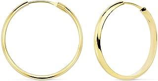 18K Gold Hoop Earrings 25mm Shank Half. Light Womens