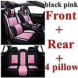 0beilita Fundas Asientos Coche Universales para Toyota Pruis Hilux Fj Cruiser Crown Yaris LC Prado Venza Zelas Vios Auris Matrix Corolla, Lujo Rosa Negro