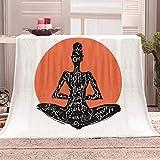 LIGAHUI Sherpa Manta de Lana Zen de meditación Cobijas de Invierno, Bedding Manta de Franela Aire Acondicionado de Oficina Mantas de Sofá Cama 70x100 cm